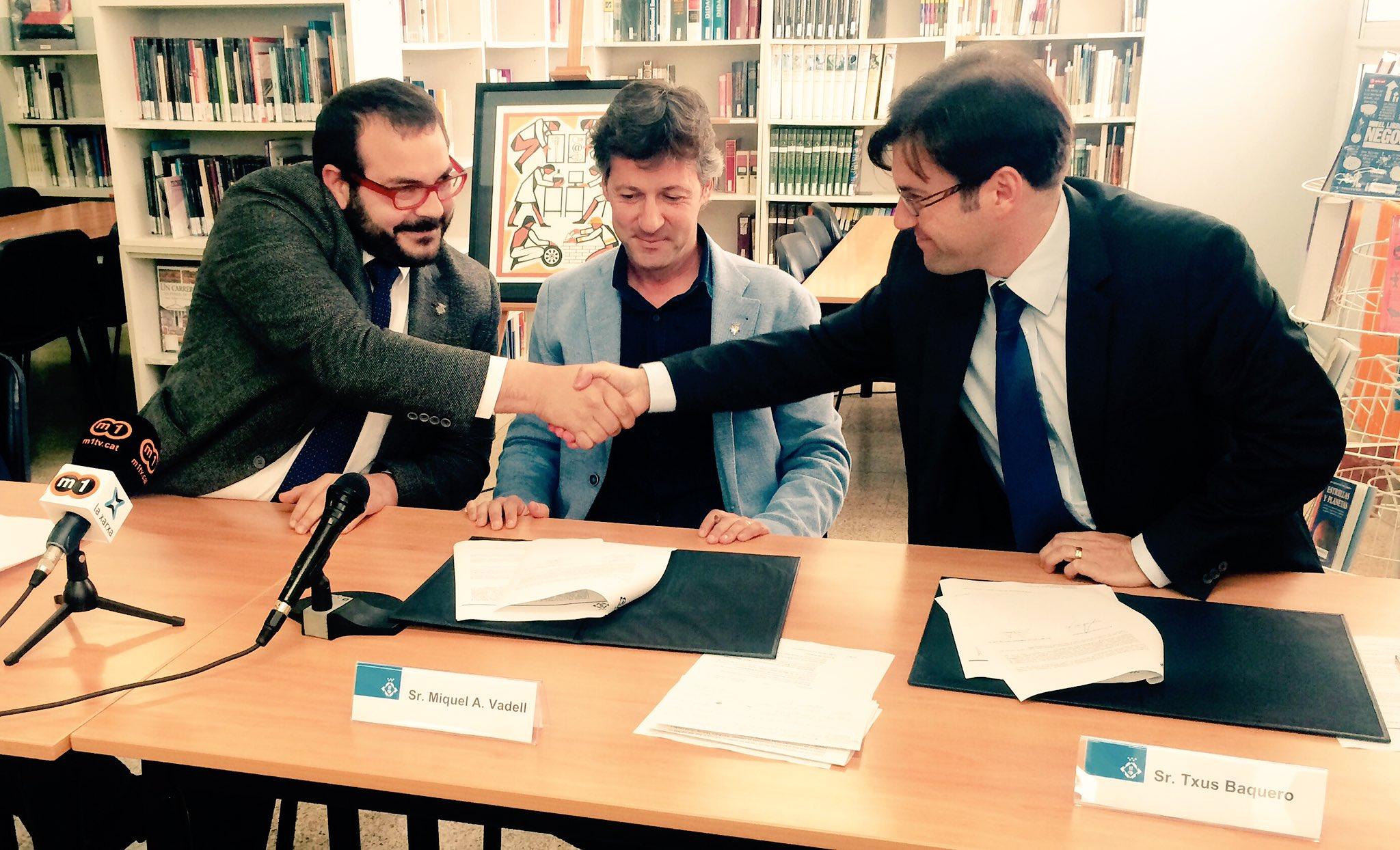 L'alcalde de la ciutat, sr. David Bote, va presidir, el passat divendres dia 17 de març,  la signatura d'un conveni per a la FP dual entre l'empresa Multivac Production S.L. i l'INS Miquel Biada.