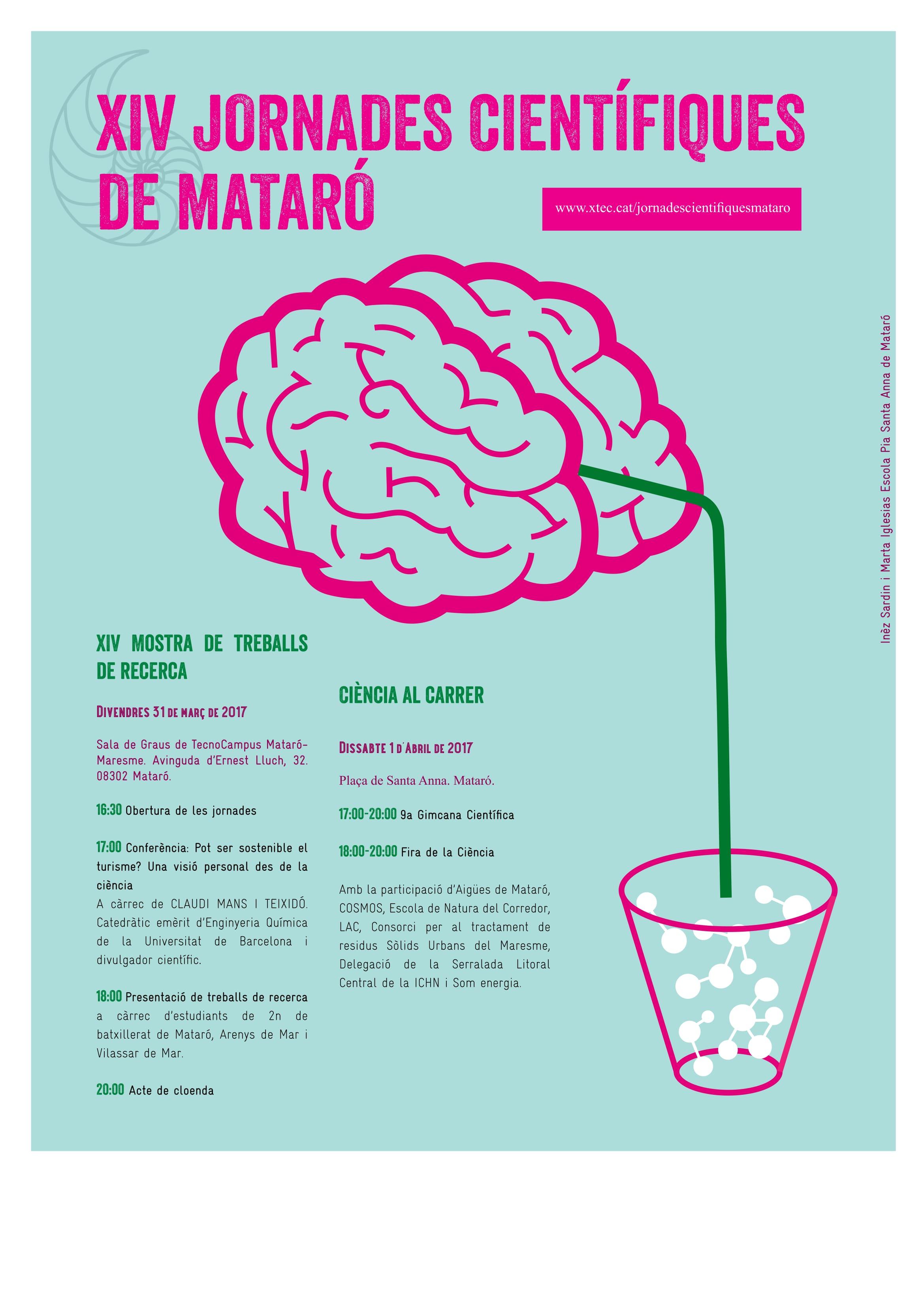 Els alumnes Roger Mascorda i Marina Tuxans a les XIV Jornades Científiques de Mataró.