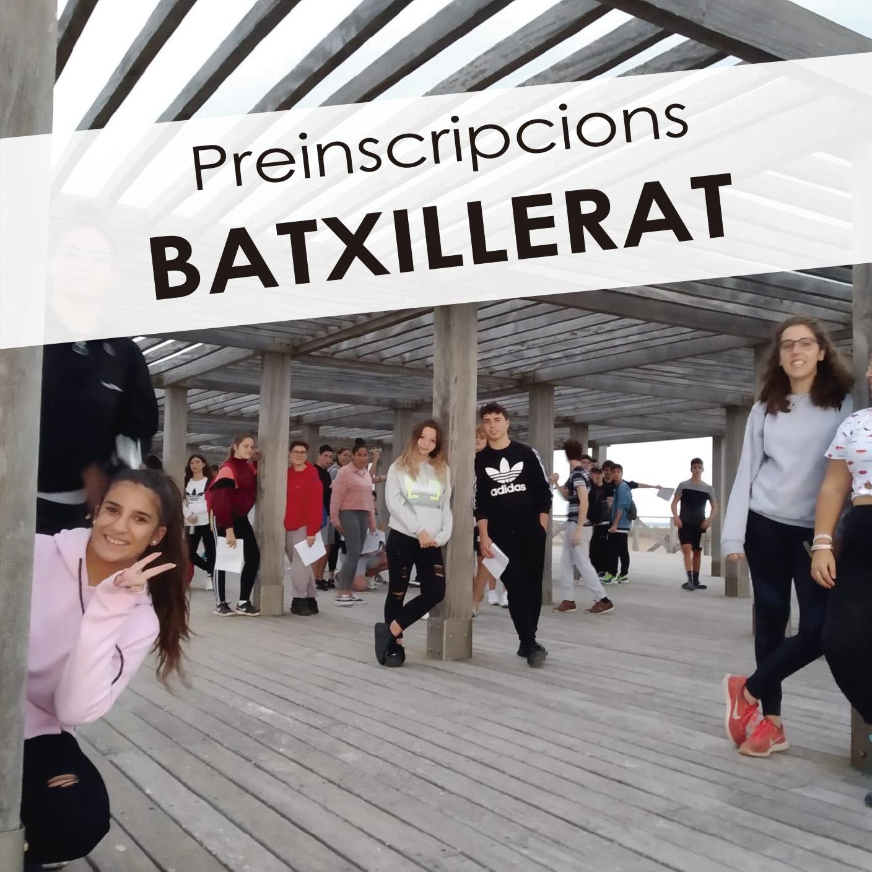 Preinscripció a Batxillerat fins el 3 de juny